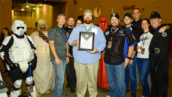 Adam Bray inducted as an Honorary Member of the 501st Legion by the Great Lakes Garrison during Grand Rapids Comic-Con 2016.