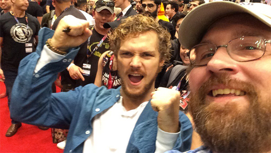 Actor Finn Jones, Marvel's Iron Fist, aka Danny Rand, and Adam Bray at New York Comic-Con, 2016
