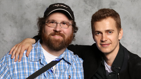 Adam Bray and Actor Hayden Christensen Anakin Skywalker at Star Wars Celebration Orlando, 2017.