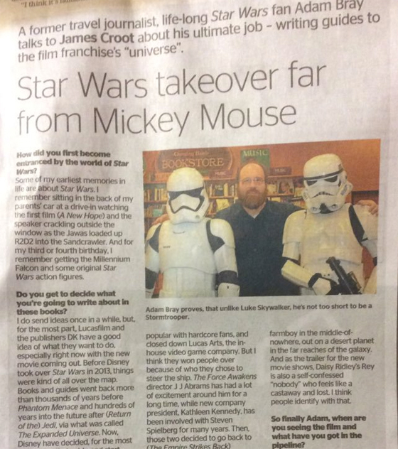 Dominion Post, Wellington, New Zealand interview with Author Adam Bray for The Force Awakens Premiere, DK Publishing, Star Wars: Absolutely Everything You Need to Know