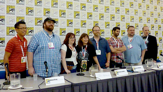 Adam Bray speaking at the Lucasfilm Publishing Panel at San Diego Comic-Con 2015.