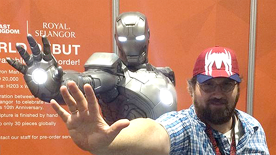 Adam Bray posing with War Machine at San Diego Comic-Con