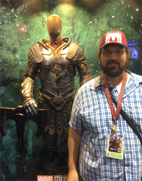 Adam Bray and Scourge's costume from Thor Ragnarok at SDCC.