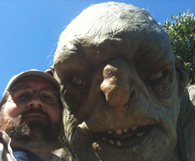 Adam Bray and a new troll friend at Weta Workshop in Wellington, New Zealand